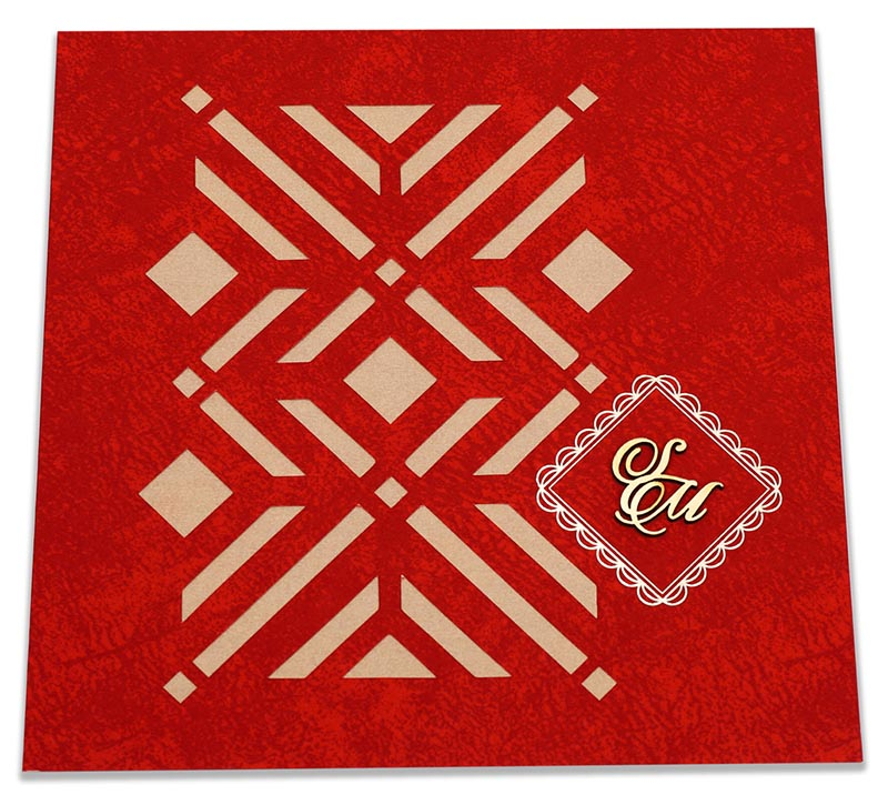 Indian wedding card with laser cut Geometric pattern in red - Click Image to Close