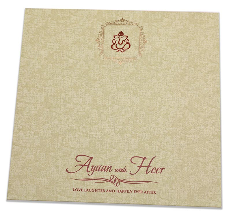 Indian wedding card with semi circular geometric patterns in brown - Click Image to Close