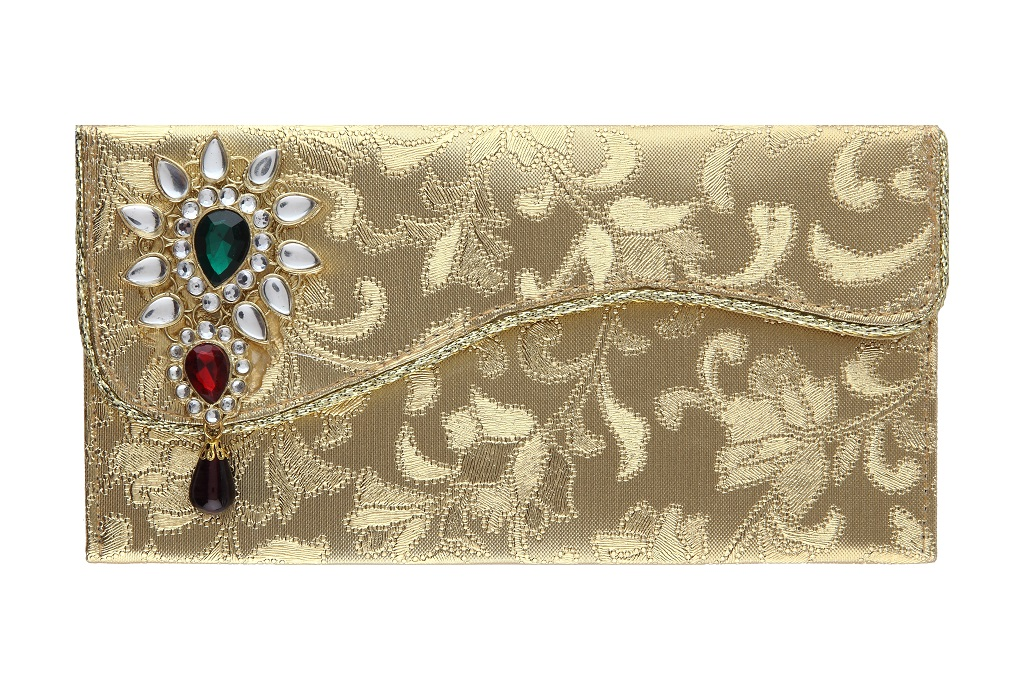 Indian Wedding Envelope With Kundan Accessory