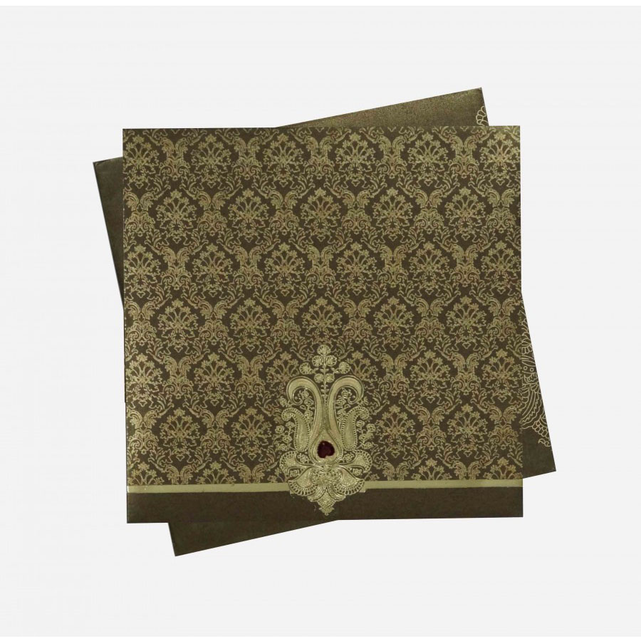 Indian Wedding Invitation In Brown With Motifs Golden