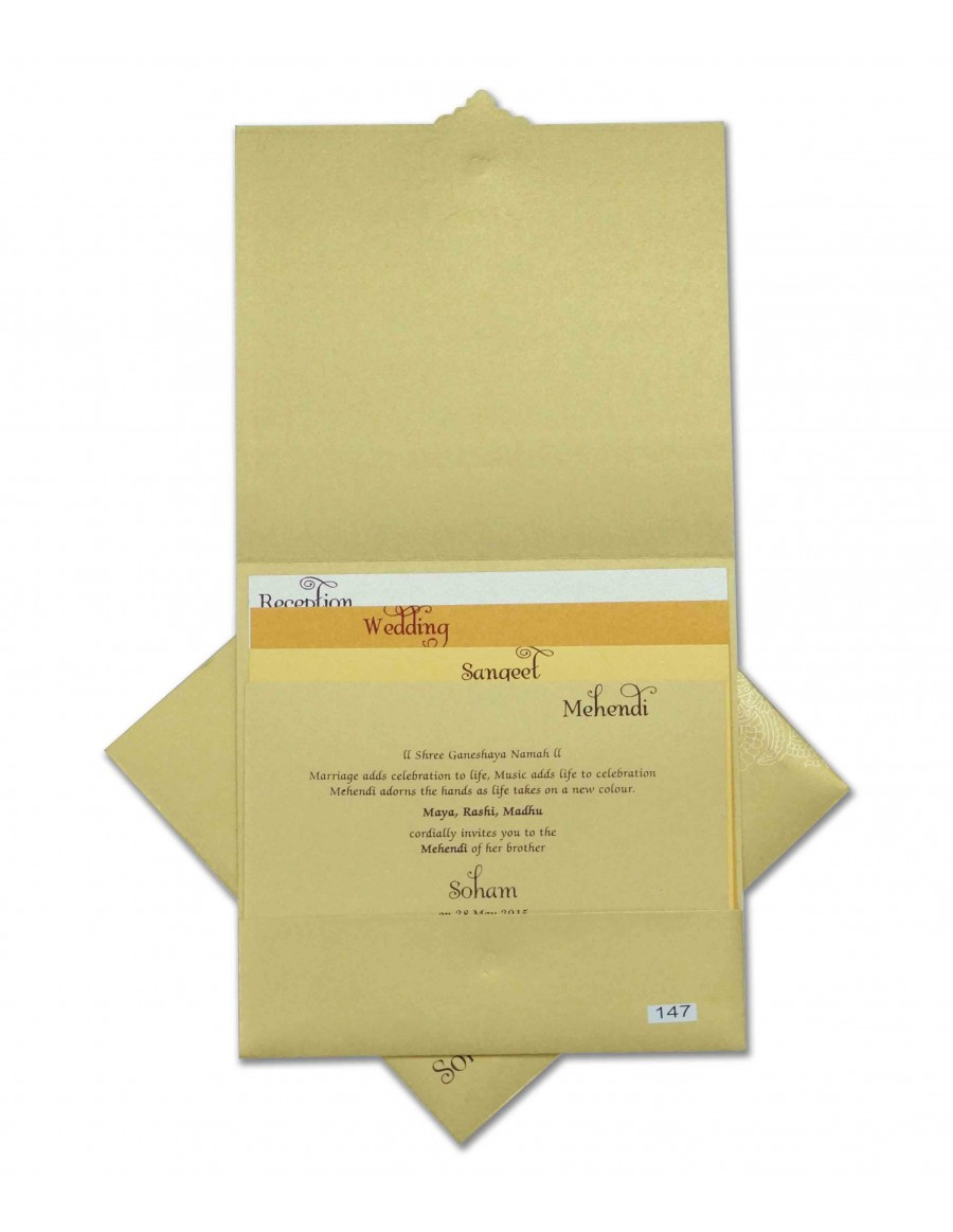 Indian Wedding Invitation in Golden with Motifs in Self Design