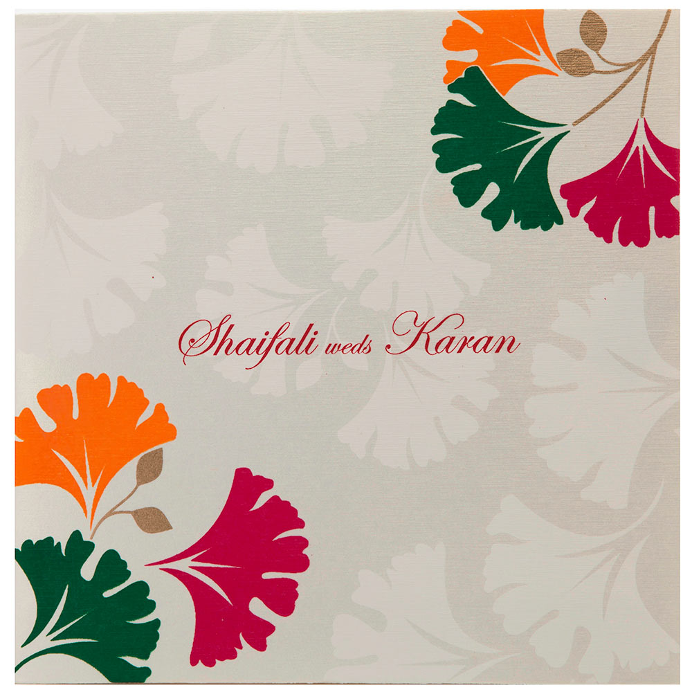 Indian Wedding Invitation In Ivory With Multi Color Leafs
