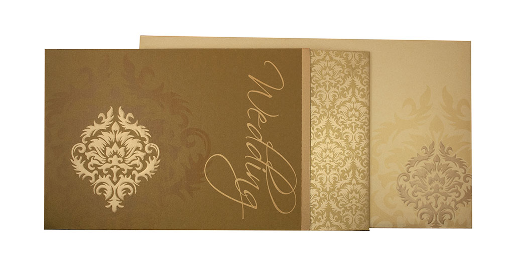 Indian Wedding Invitation In Olive Green With Motifs Golden