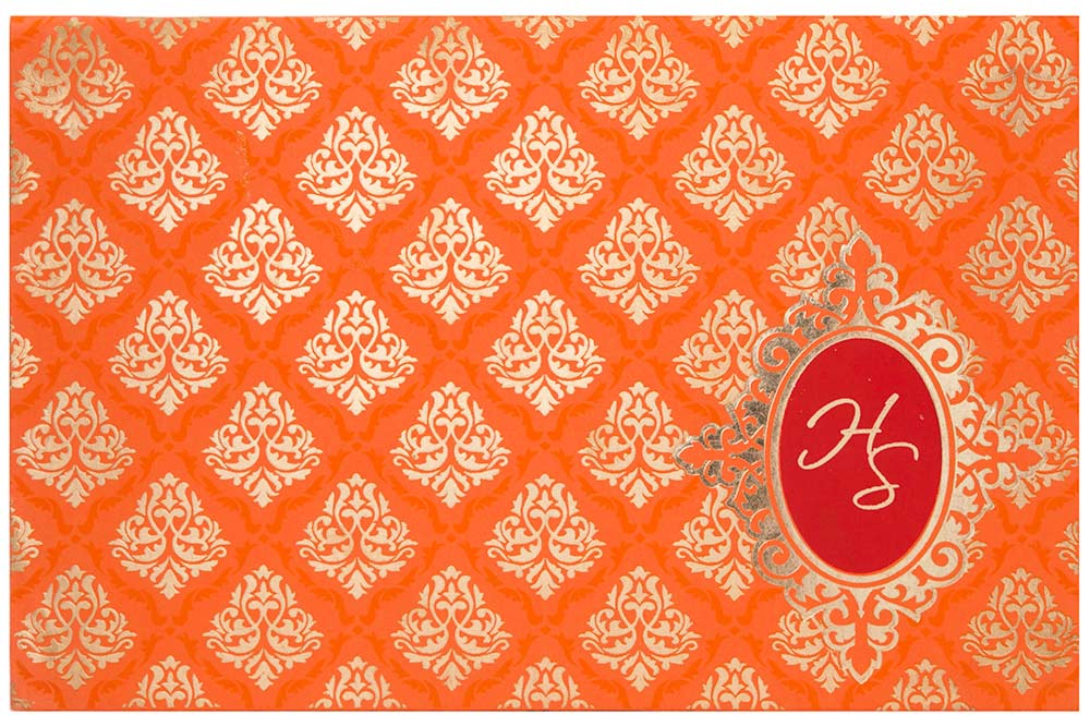 Indian Wedding Invitation In Orange Color With Water Marked Moti