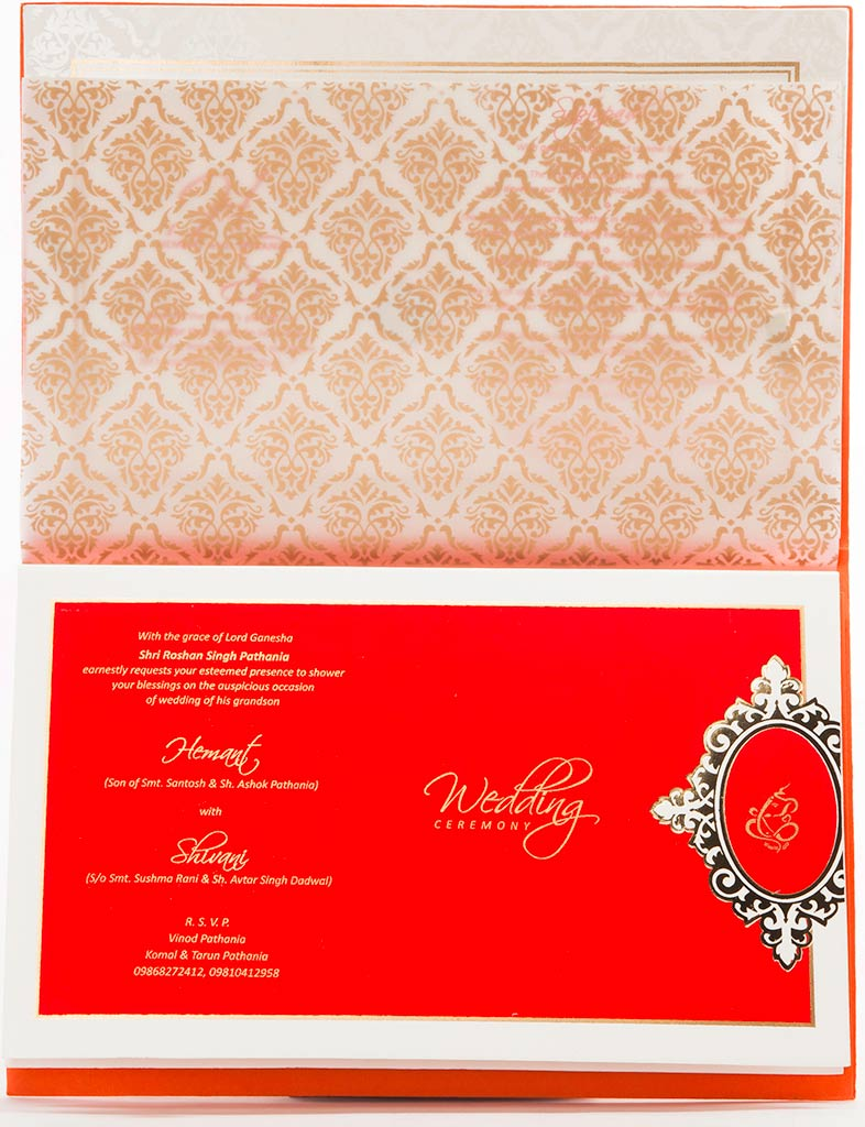 Indian Wedding Invitation In Orange Color With Water Marked Moti ...