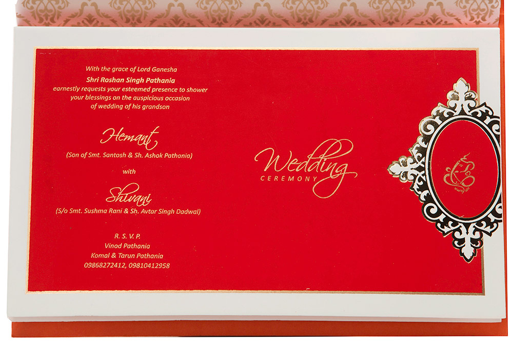 Vietnamese Wedding Invitation Template: Hindu Designer Wedding Card In Red Amp Orange With Golden