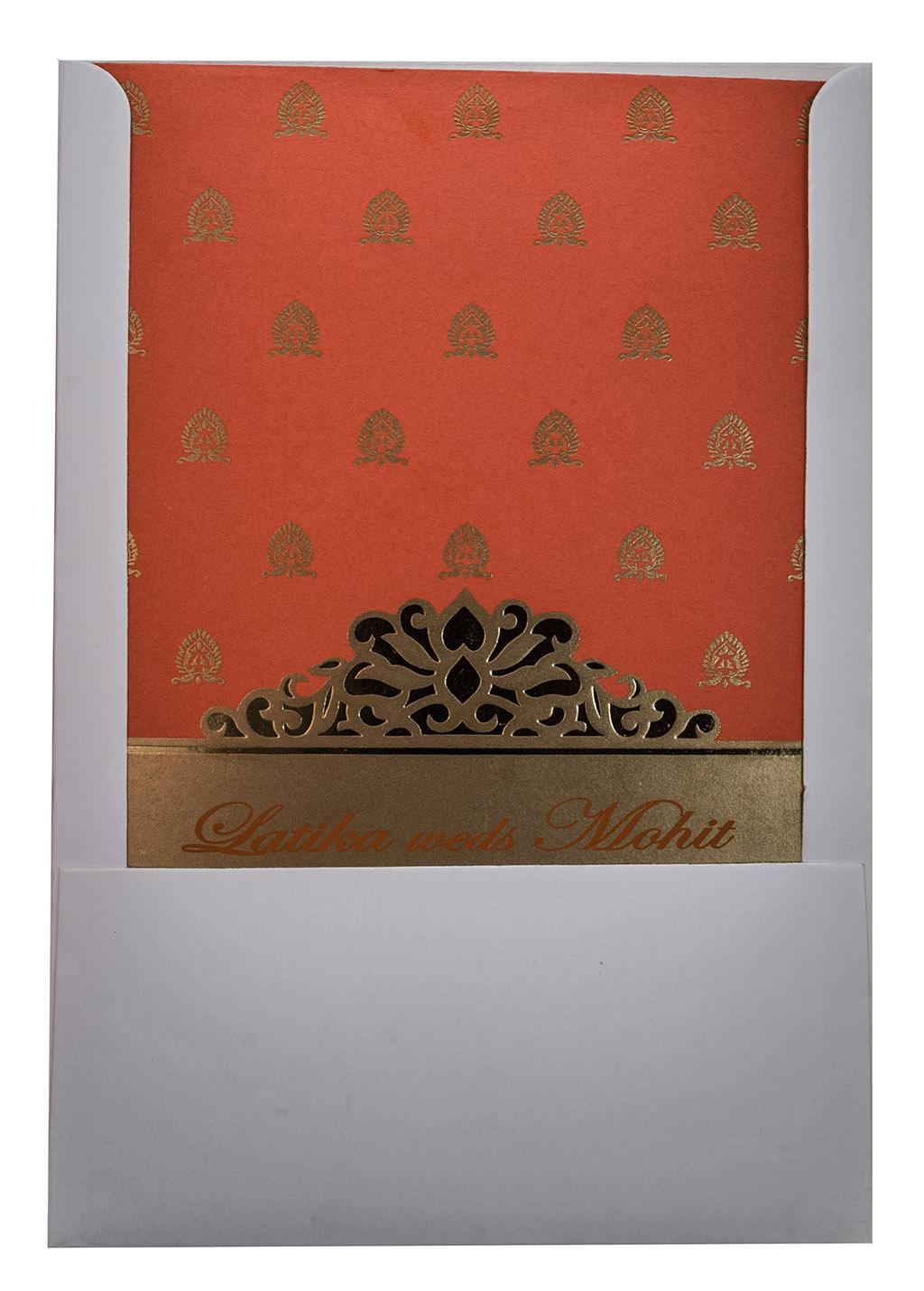 Indian Wedding Invitation in Orange with Golden motifs