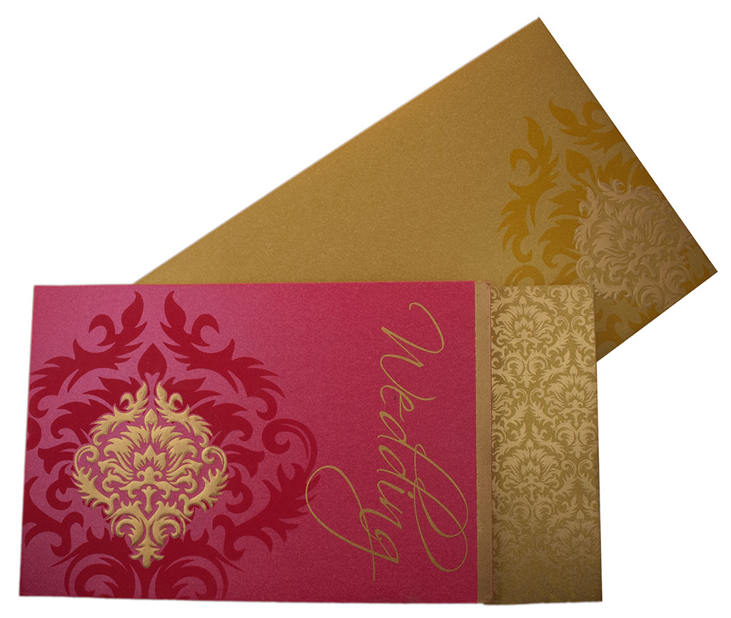 Indian Wedding Invitation in Pink with Motifs in Golden