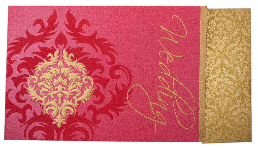 Indian Wedding Invitation In Pink With Motifs Golden
