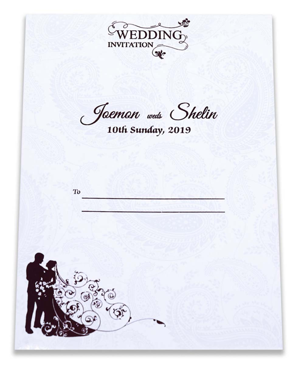 Indian wedding invitation in purple satin with paisley design - Click Image to Close