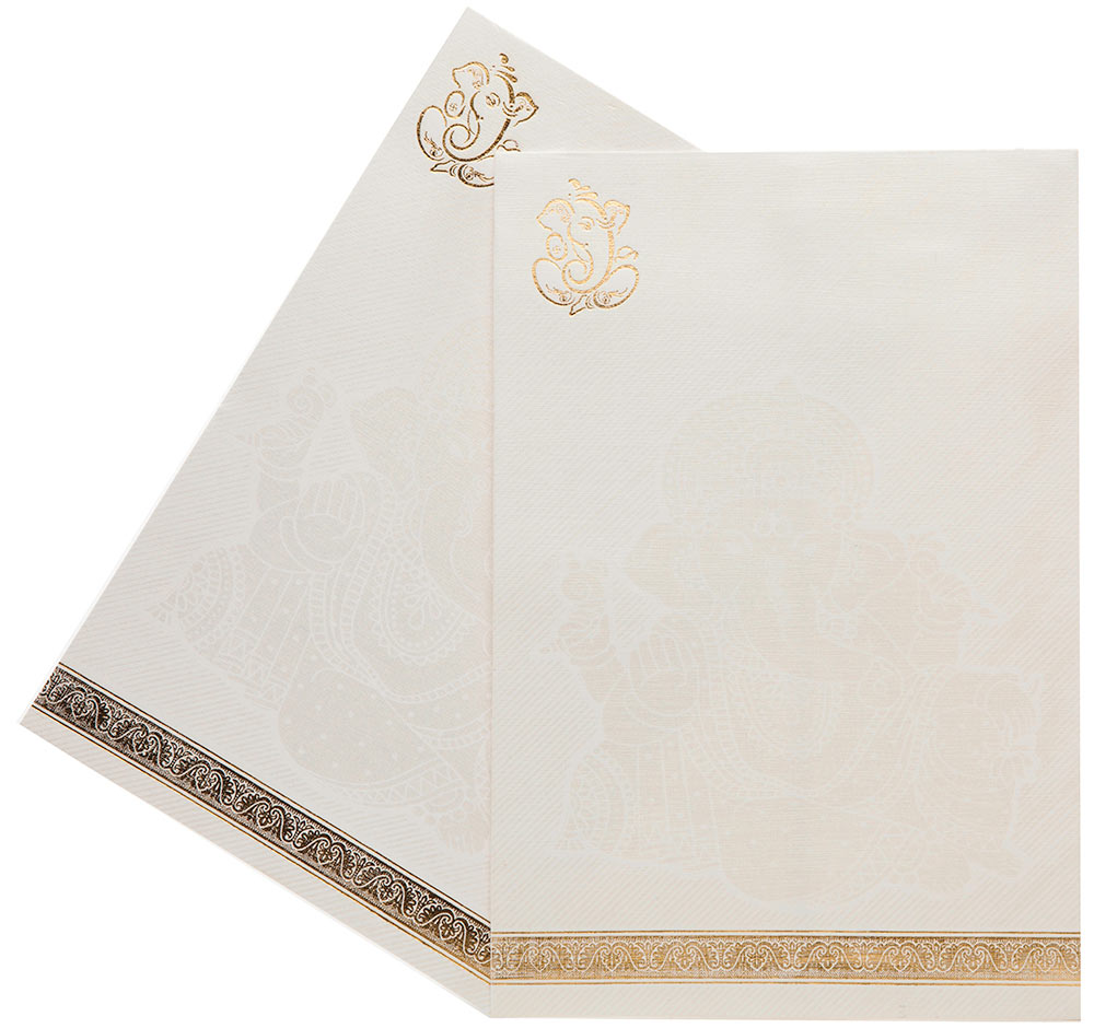 Indian Wedding Invitation In White With Golden Ganesha Design ...