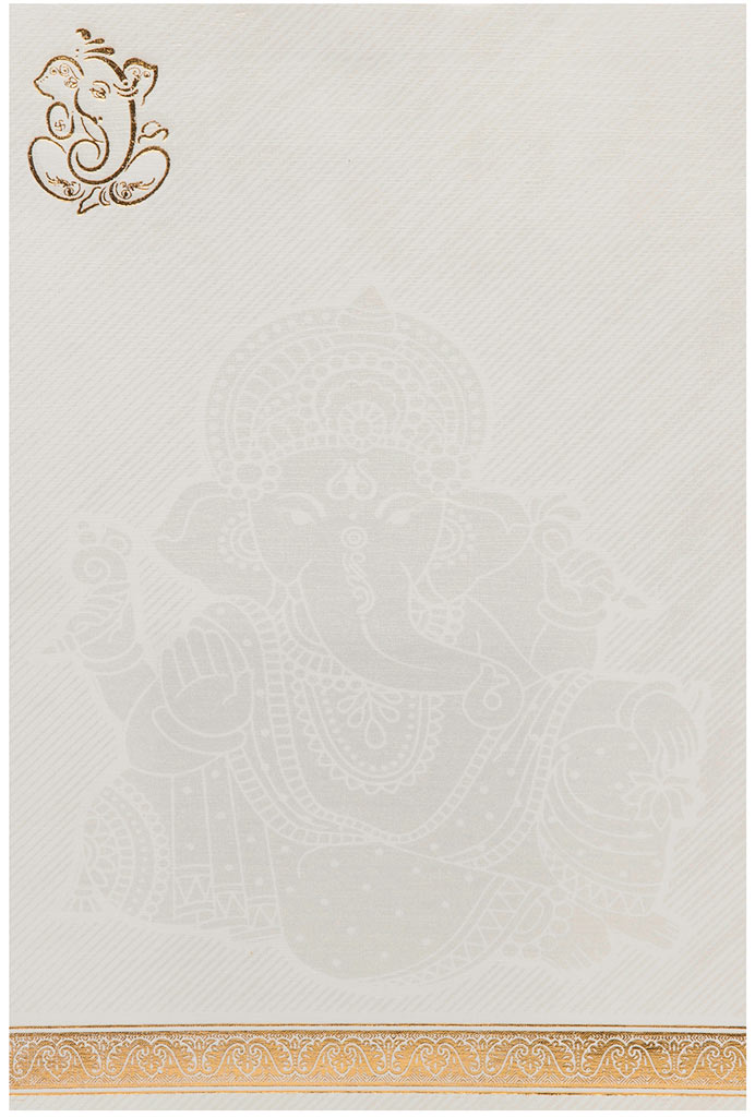 Indian Wedding Invitation In White With Golden Ganesha Design – Ganesh Invitation Cards