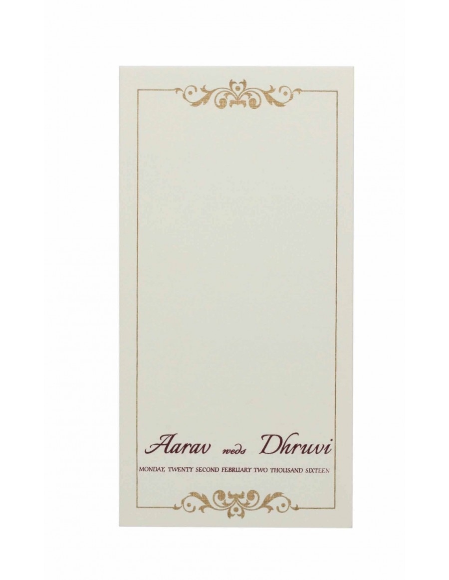 Sample Indian Wedding Invitation with a Brown Insert and Golden Border