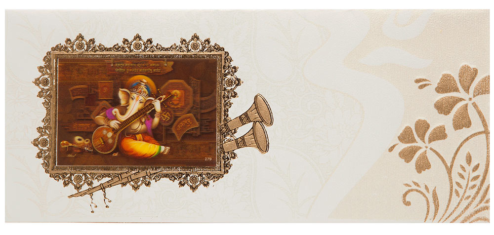 Indian Wedding Invitation With 3d Ganesha Amp Floral