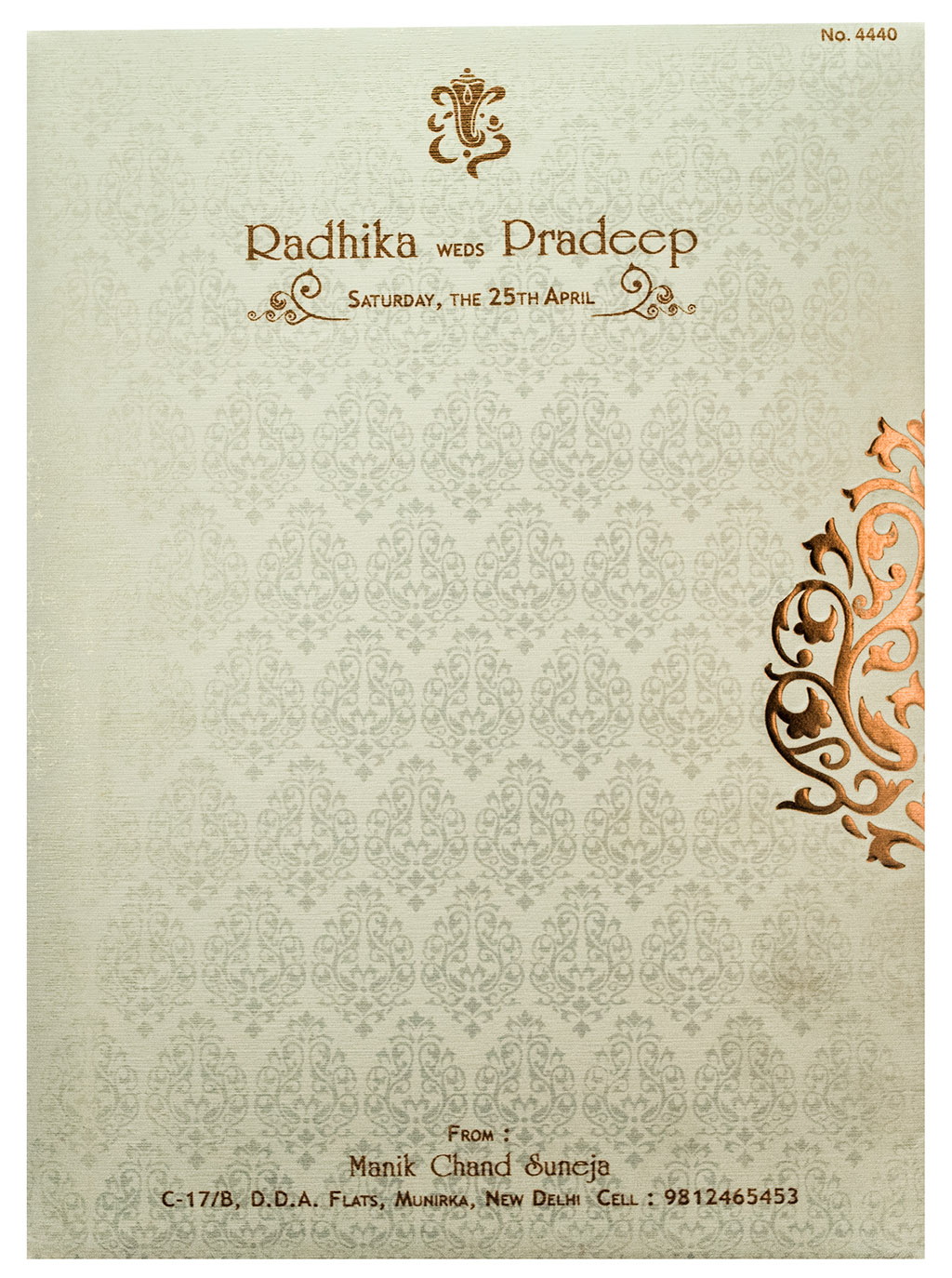 Indian Wedding Invite in Peach Color with Embossed Floral Prints