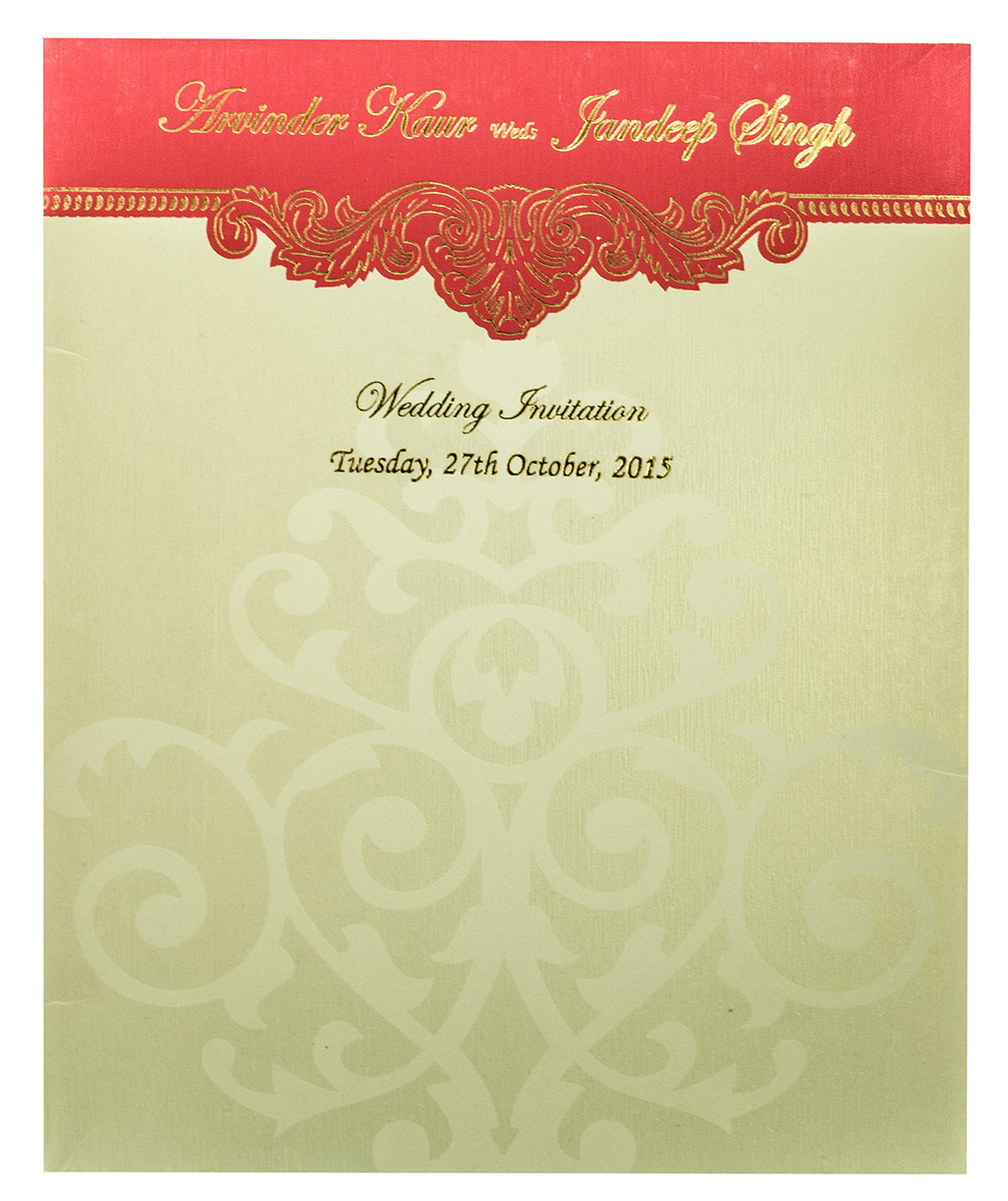 Indian Wedding Invite In Pink With Motifs Golden