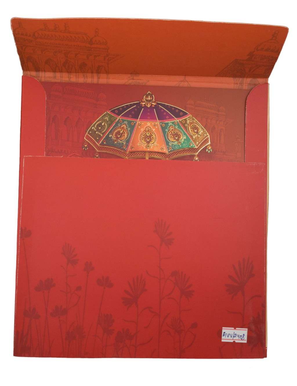 Indian Wedding Invite in red with traditional multicolour images