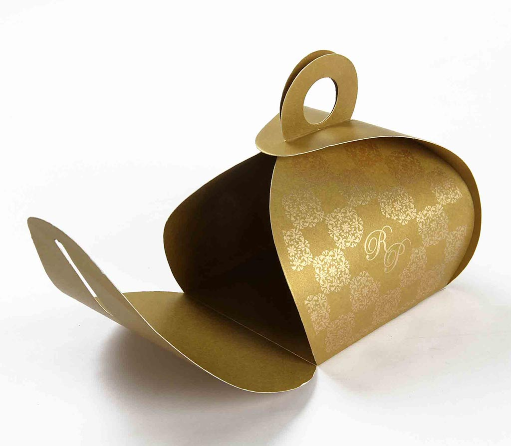 Indian Wedding Party Favor Box In Golden Color