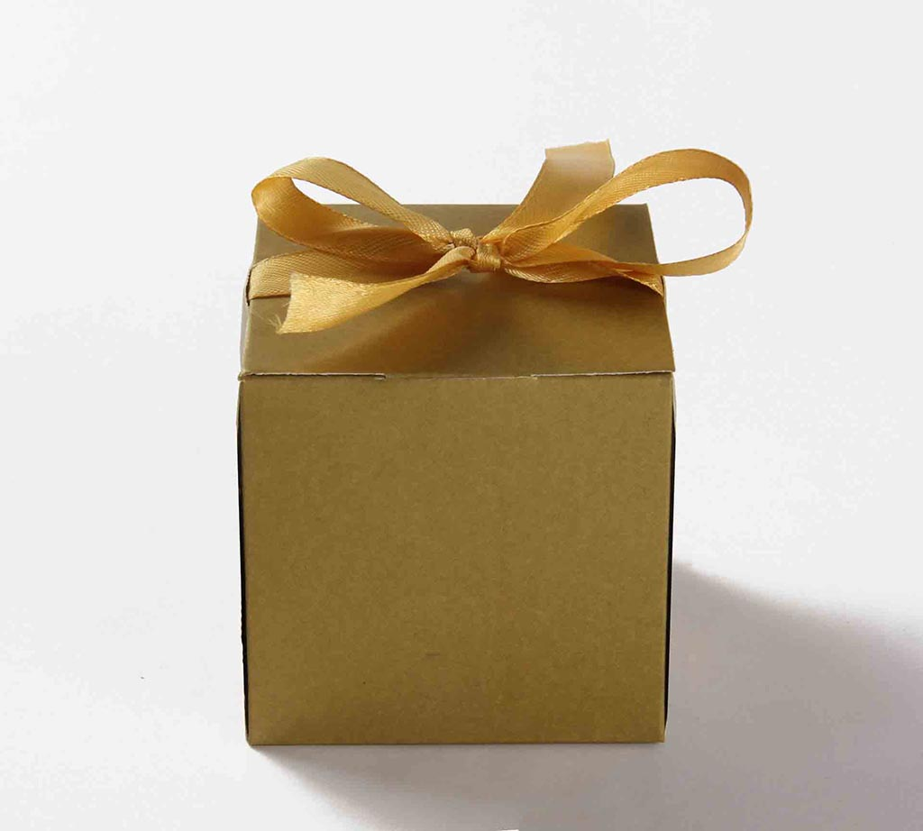 Indian Wedding Party Favor Box in Golden with the Ribbons