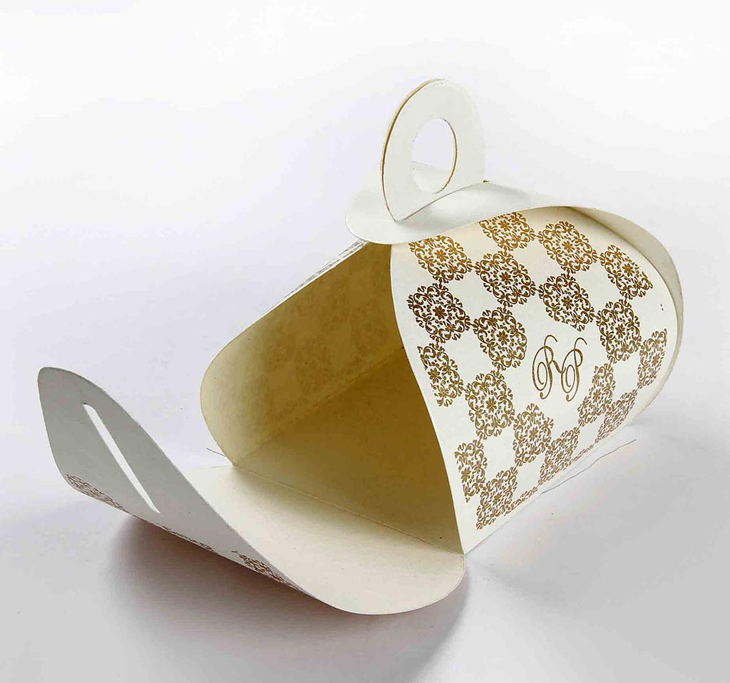 Indian Wedding Party Favor Box in Ivory Color