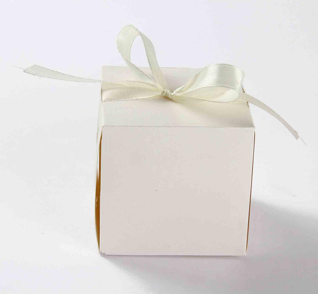 Indian Wedding Party Favor Box in Ivory with the RibbonsWedding ...
