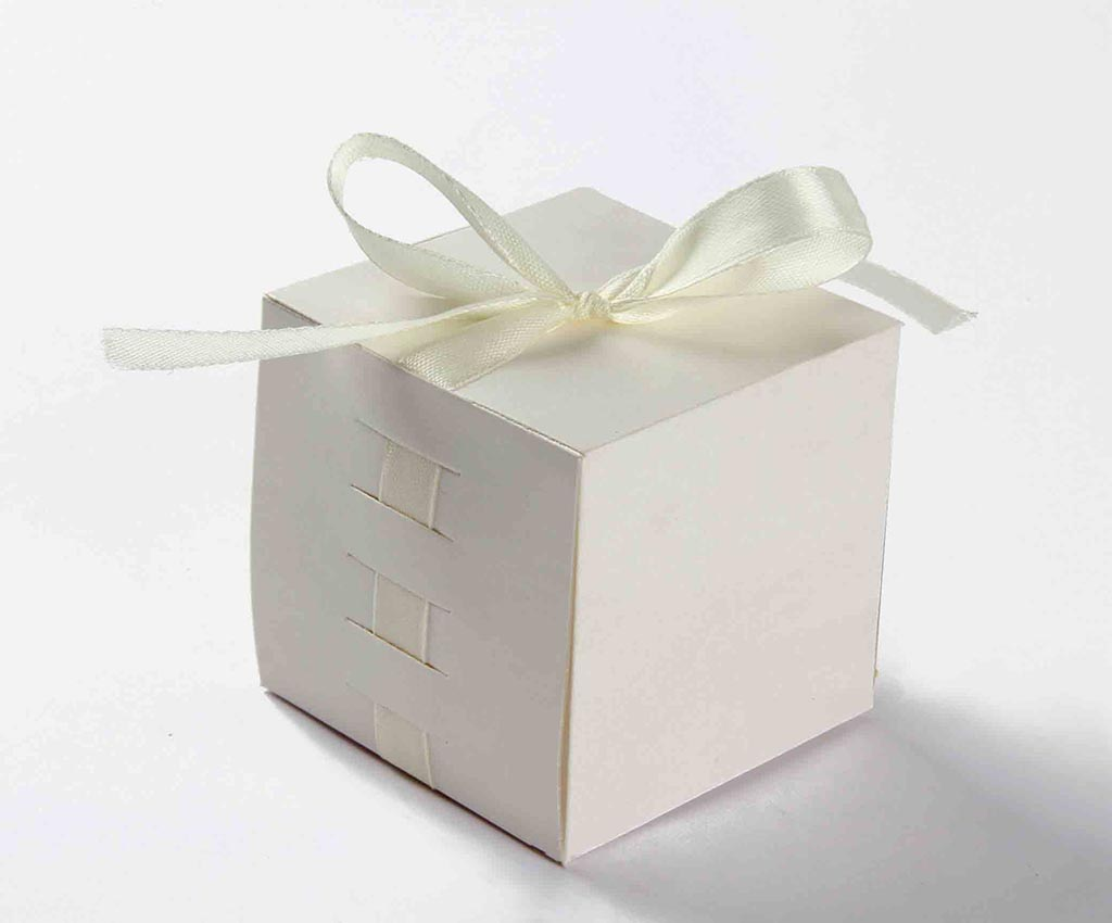 Indian Wedding Party Favor Box in Ivory with the Ribbons
