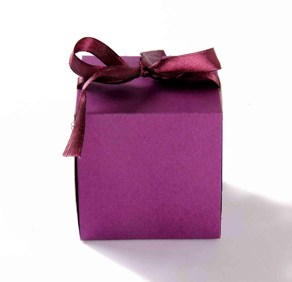 Indian Wedding Party Favor Box in Purple with the Ribbons