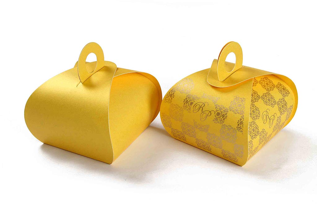 Indian Wedding Party Favor Box In Yellow Color