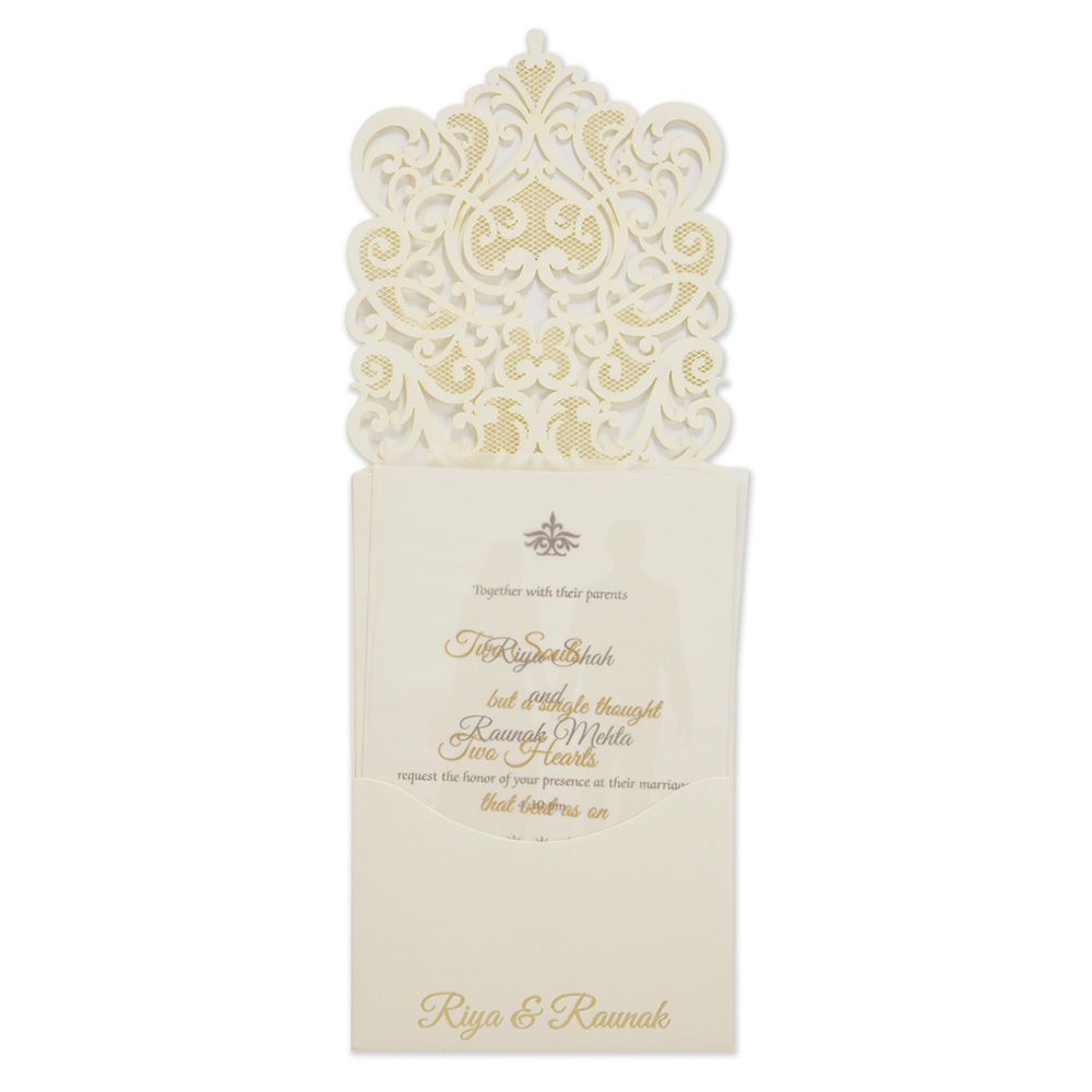Intricate laser cut design wedding invitation card in cream ...