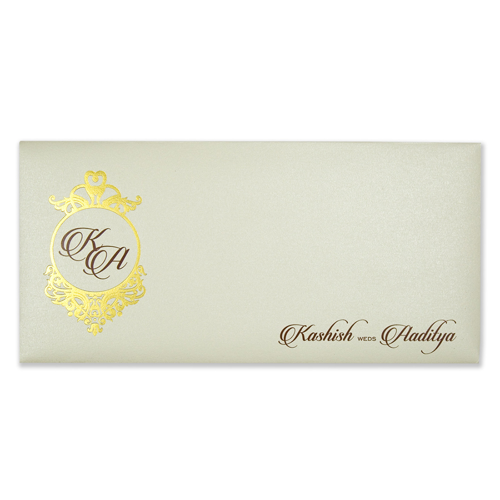 Ivory coloured Indian wedding invitation with floral motifs
