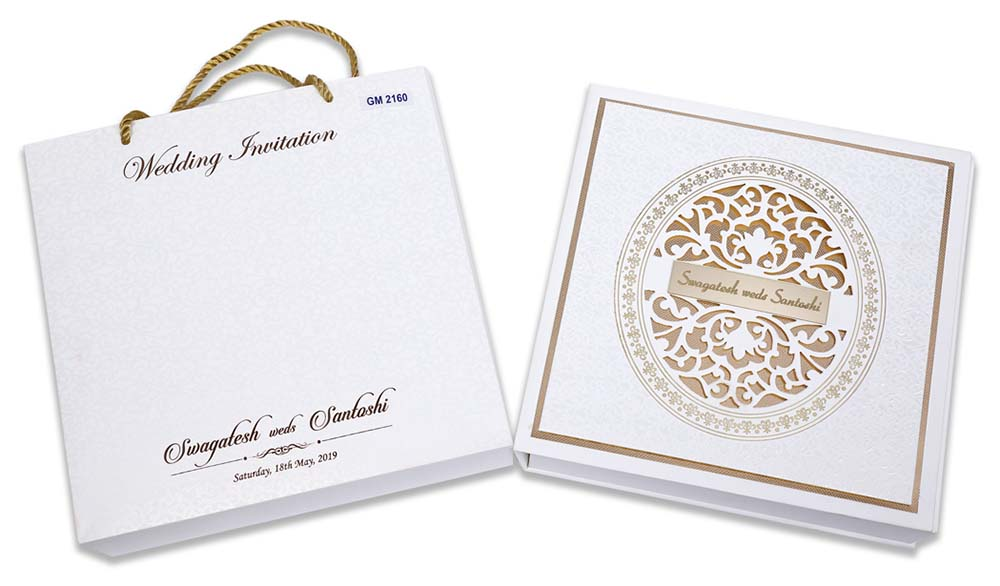 Laser cut Indian theme box invitation in Ivory color