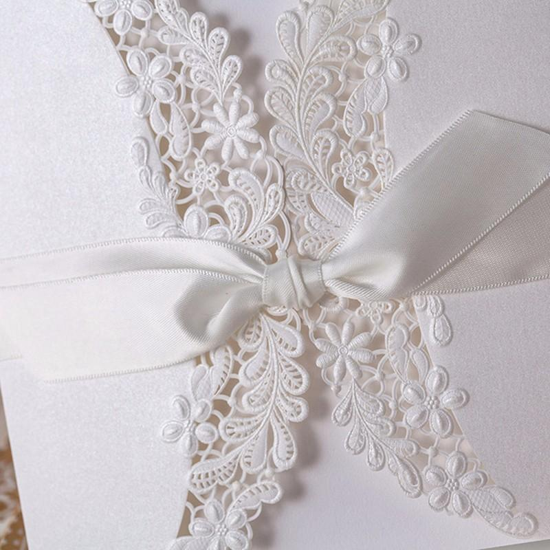 Laser cut Ivory White Florla Wedding Invitation with Bowknot - Click Image to Close