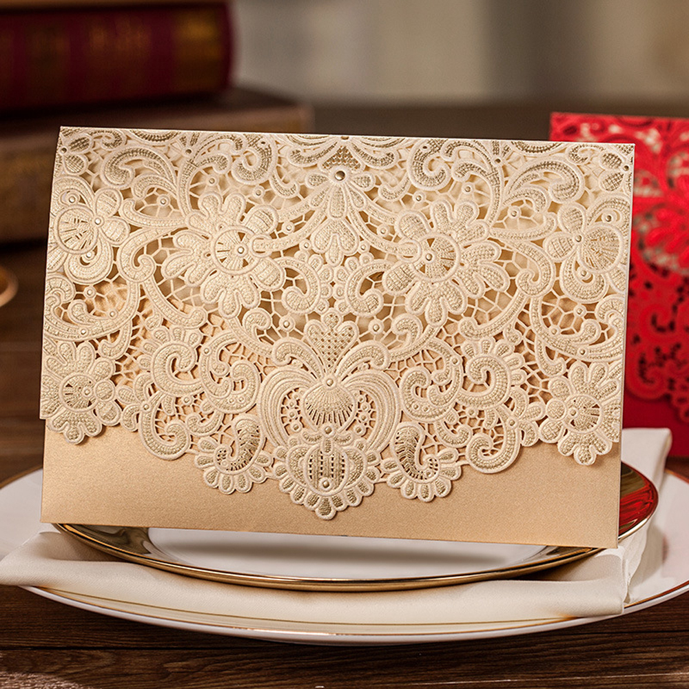 Laser Cut Wedding Invitation with Golden Floral Designs - Click Image to Close