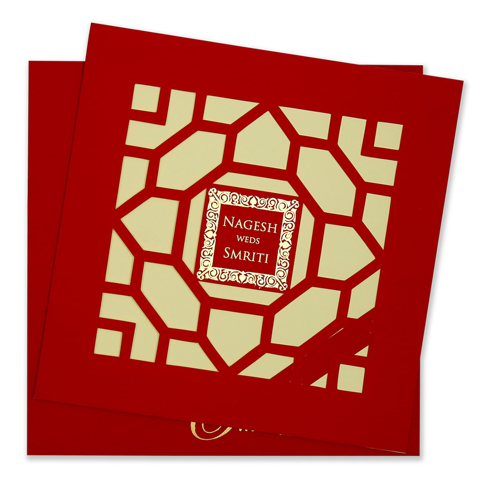 Laser cut wedding invite in red with satin finish.