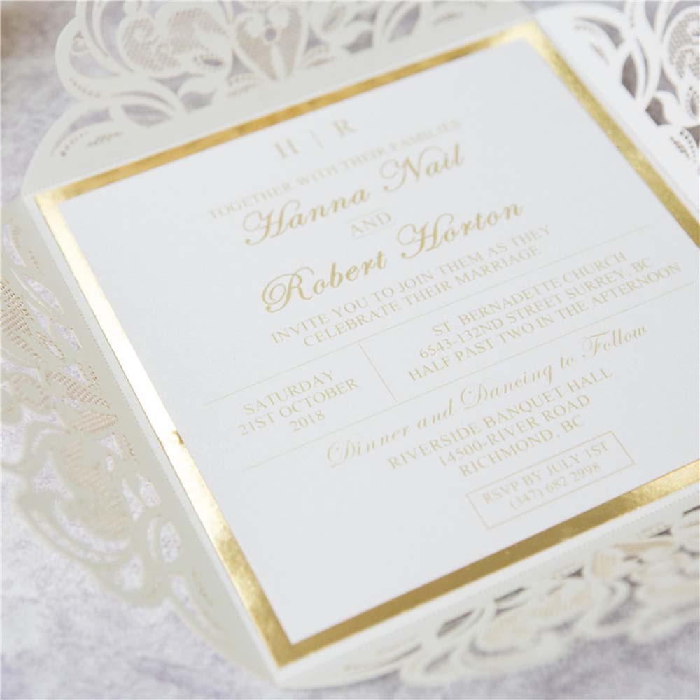Luxurious Lace Wedding Invitation & RSVP set with Golden Ribbon - Click Image to Close