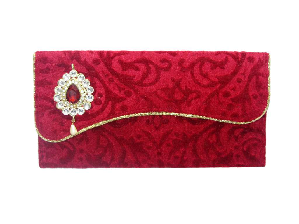 Maroon Self Velvet Envelope