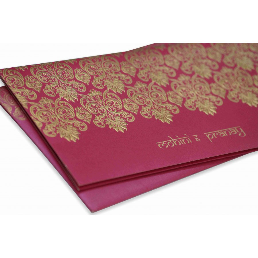 Modern Wedding Invitation in Pink with Embossed Motifs in Golden