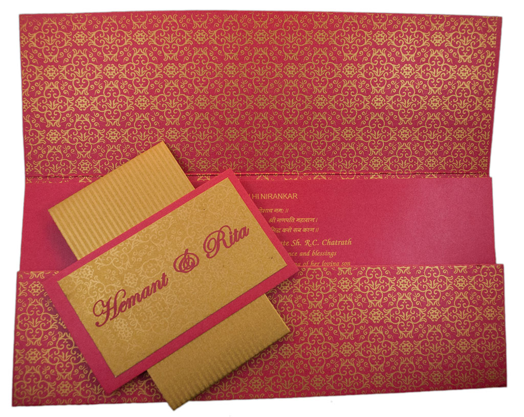 Modern Design Multifaith Wedding Invitation Card in Pink