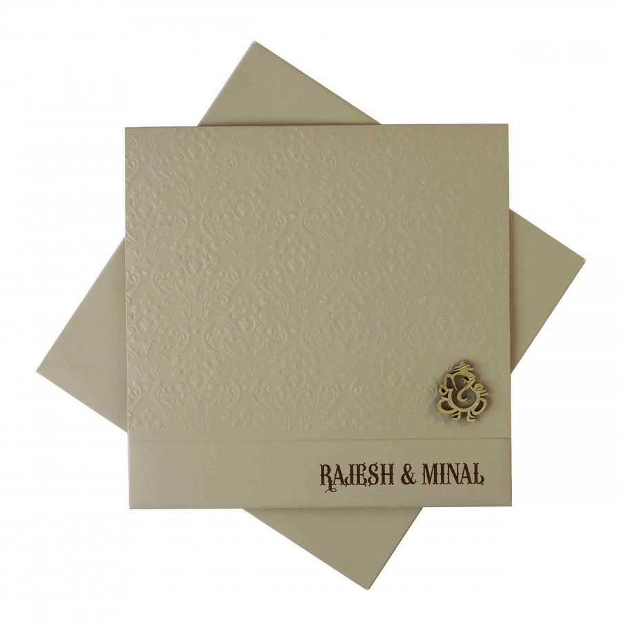 Modern Hindu Wedding Invitation In Brown With Laser Cut Ganesha