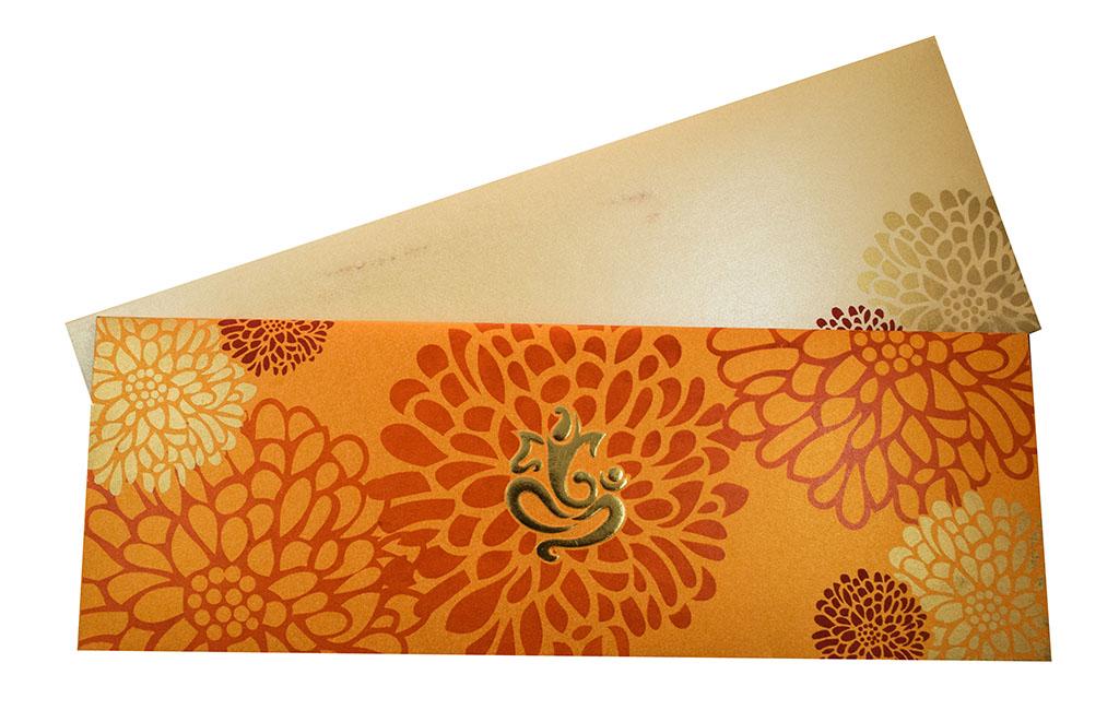 Modern Hindu Wedding Invitation in Orange with Flower Design