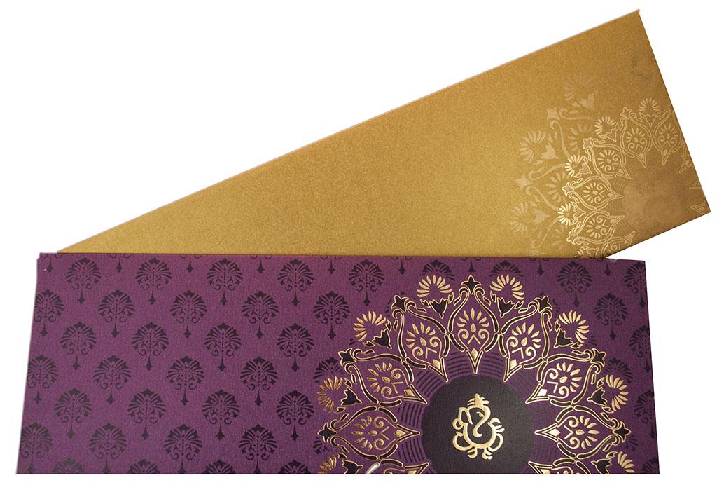 Modern Hindu Wedding Invitation with Flower Design in Purple