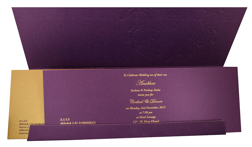 Hindu Wedding Invitation with Flower Design in Purple
