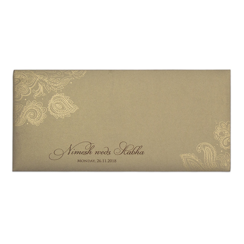 Modern Indian wedding card in brown & golden with paisley design - Click Image to Close