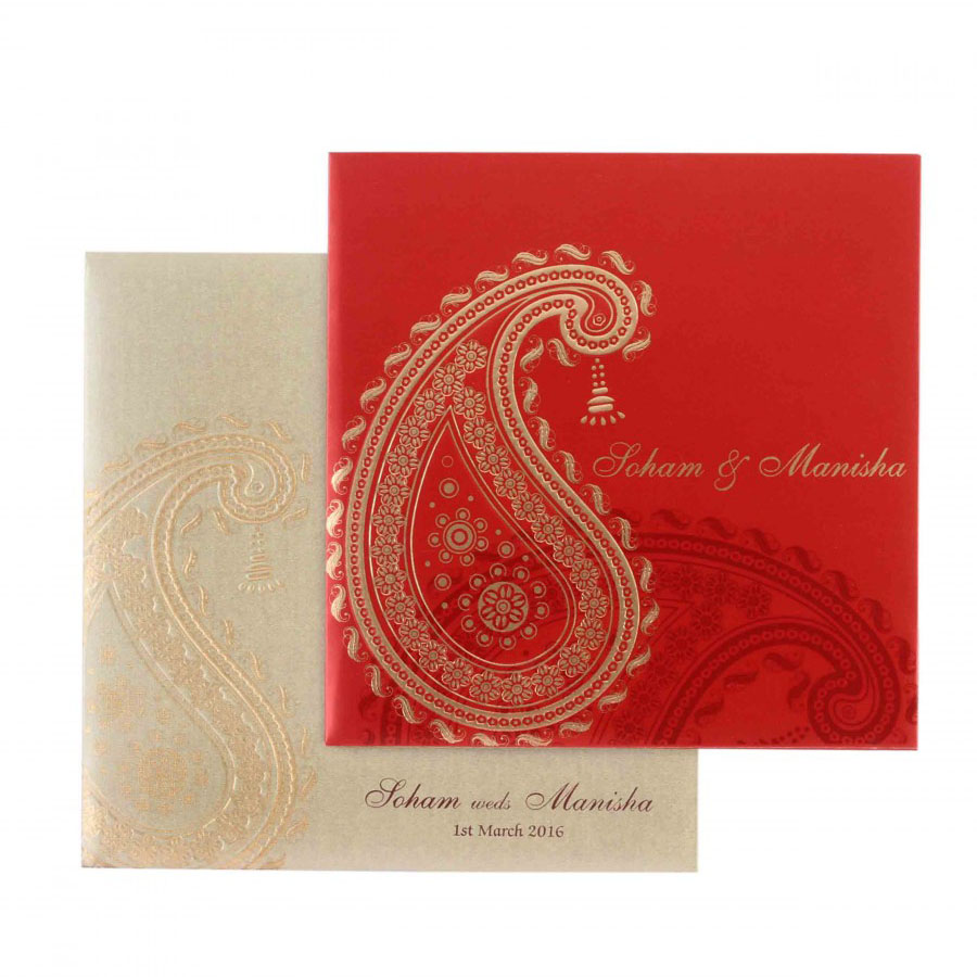 Modern MultiFaith Wedding Card in Maroon with Paisley Design