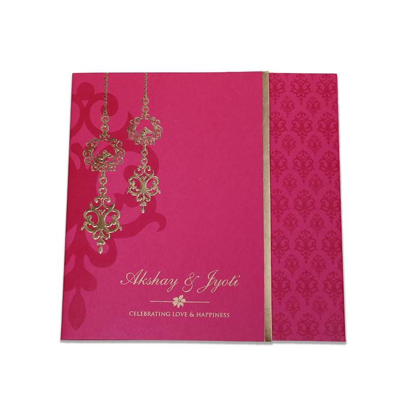 Modern tamil wedding invitation in pink with Chandelier design