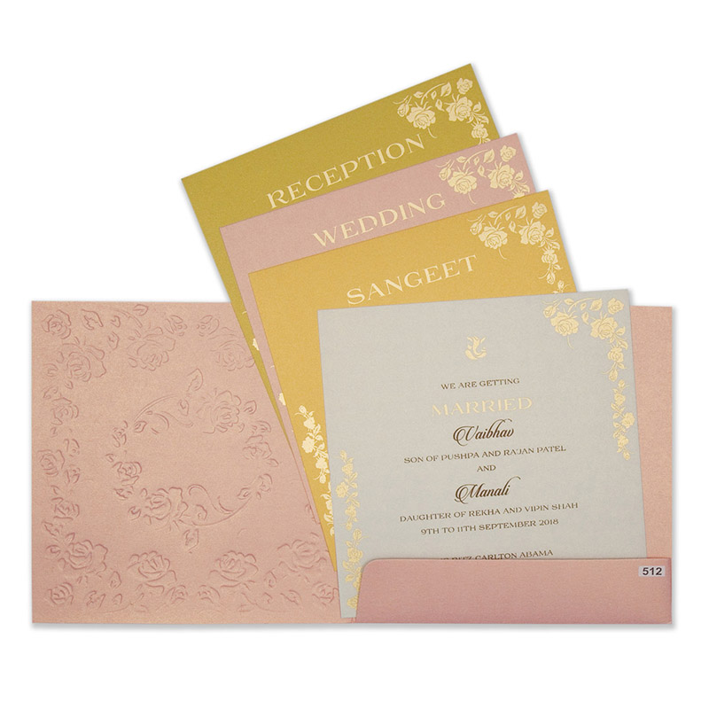 Modern tamil wedding invite in pink colour with rose flowers