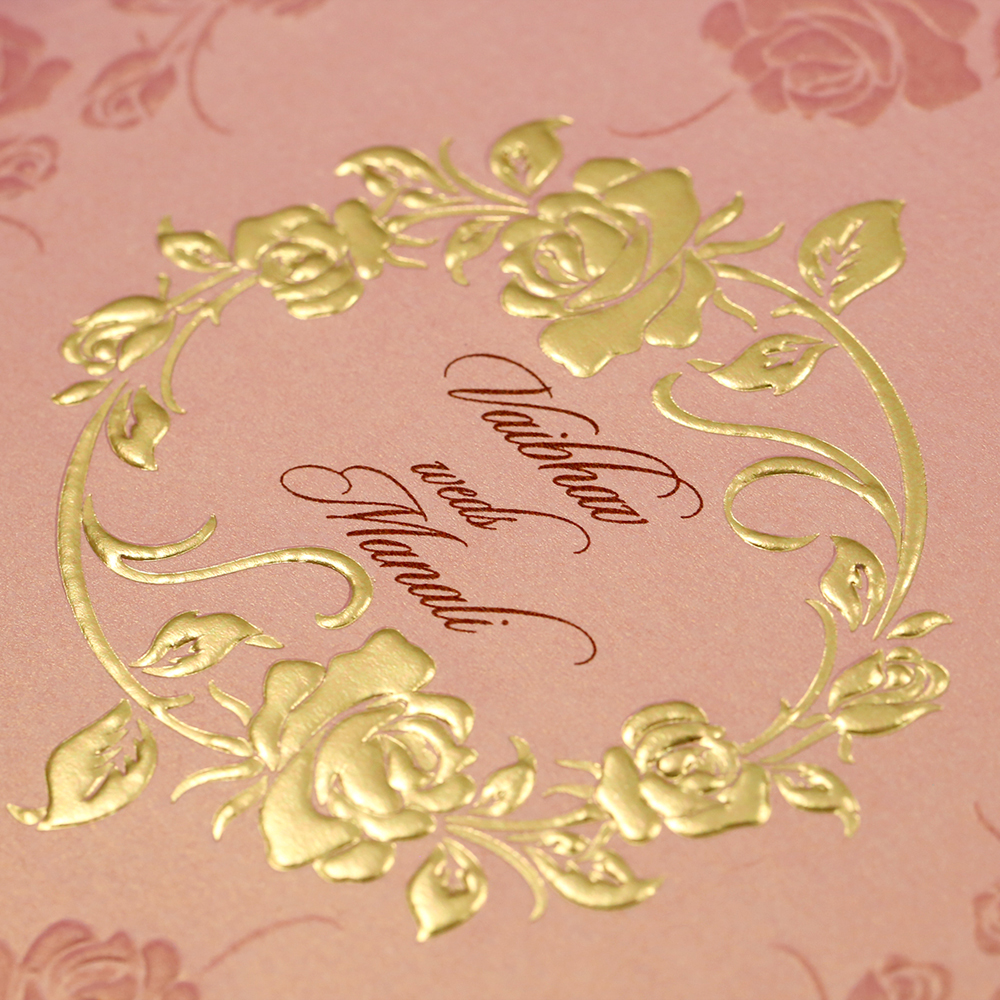 Modern wedding Invitation in rose gold colour with rose flowers - Click Image to Close