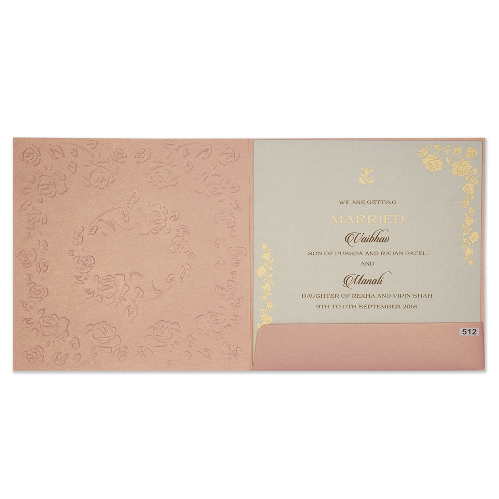 Modern wedding Invitation in pink colour with rose flowers - Click Image to Close