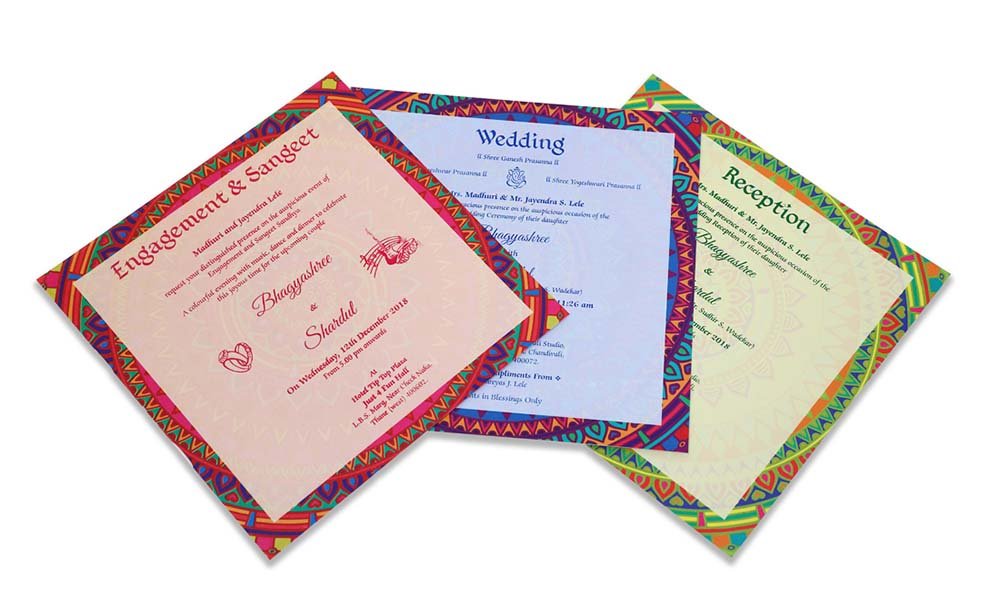Multicolour modern Indian wedding card with mandala design - Click Image to Close