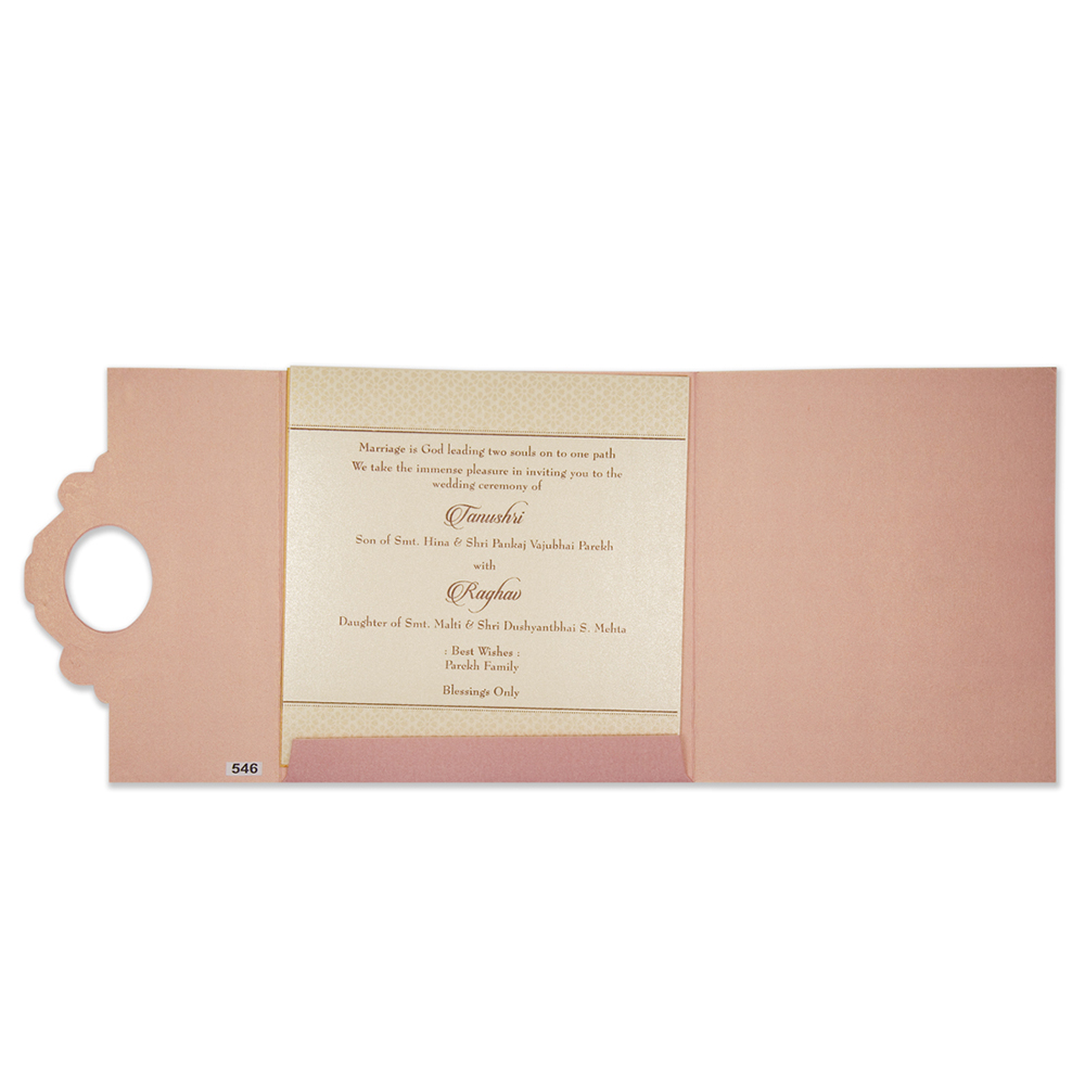 Multifaith designer wedding card in pink and golden colour - Click Image to Close